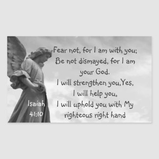 Fear Not, Isaiah Scripture Comforting Angel Rectangular Sticker