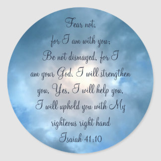 Fear Not, Isaiah Scripture Sky Clouds Classic Round Sticker