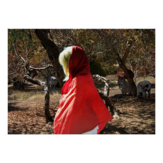 Fear of Ghosts Red hooded cape blonde girl poster
