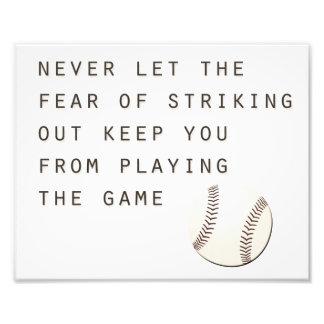 fear of striking out inspirational modern baseball photograph