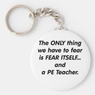 Fear PE Teacher Basic Round Button Key Ring