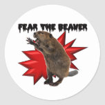 Fear the Beaver Round Stickers