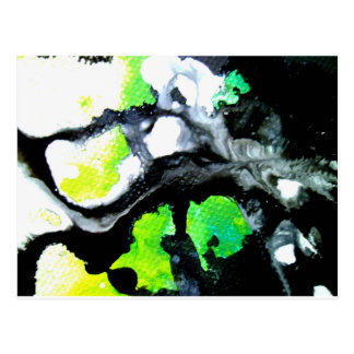Fearless abstract painting black white green postcard