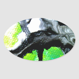 Fearless abstract painting black white green oval sticker