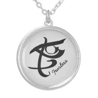 Fearless rune round pendant necklace