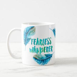 Fearless wanderer, blue feathers, bohemian mug
