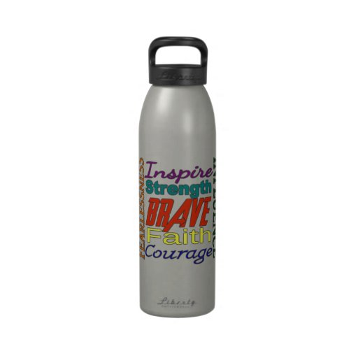 Fearlessness Courage Faith Etc...Word Picture Water Bottle