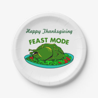 Feast Mode Funny Thanksgiving Paper Plate