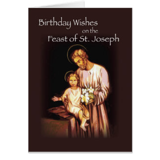 Feast of St. Joseph on Black Greeting Card