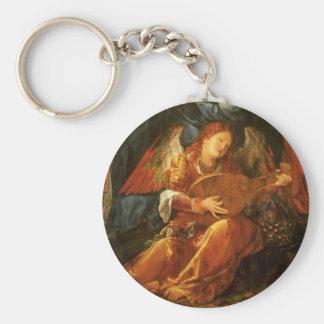 Feast of the Rose Garlands, Angel Albrecht Durer Basic Round Button Keychain