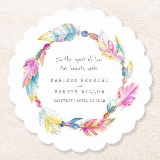 Feather and beads wreath boho wedding coasters