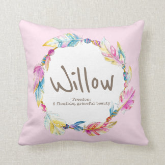 Feather bead watercolor name meaning willow pillow