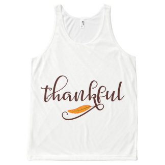 Feather Boho Native Thankful Typography All-Over Print Singlet