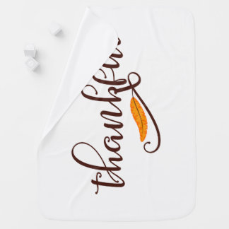 Feather Boho Native Thankful Typography Baby Blanket
