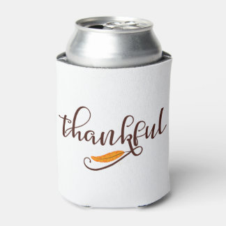 Feather Boho Native Thankful Typography Can Cooler