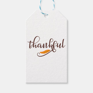 Feather Boho Native Thankful Typography Gift Tags
