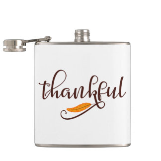 Feather Boho Native Thankful Typography Hip Flask