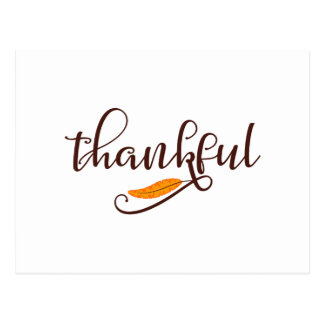 Feather Boho Native Thankful Typography Postcard