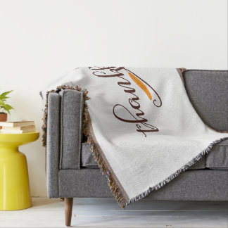 Feather Boho Native Thankful Typography Throw Blanket