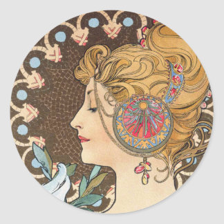 Feather by Alphonse Mucha - Vintage Art Nouveau Classic Round Sticker