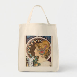 Feather by Alphonse Mucha - Vintage Art Nouveau Tote Bag