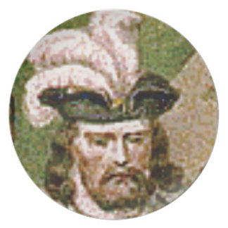 feather capped bearded man plate