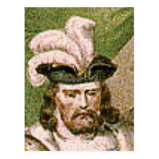 feather capped bearded man postcard