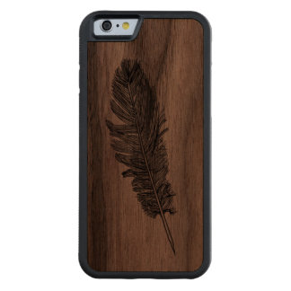 Feather Carved Walnut iPhone 6 Bumper Case