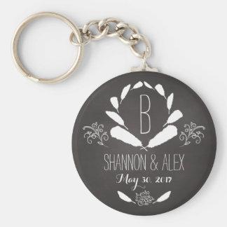Feather Chalkboard Monogram Wedding Date Basic Round Button Key Ring