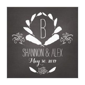 Feather Chalkboard Monogram Wedding Date Canvas Print