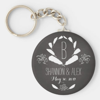 Feather Chalkboard Monogram Wedding Date Key Ring