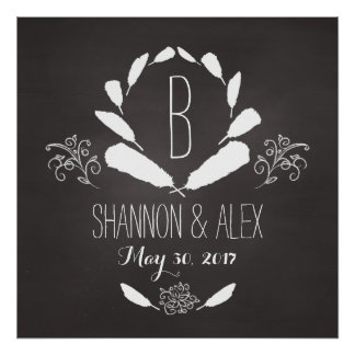 Feather Chalkboard Monogram Wedding Date Poster