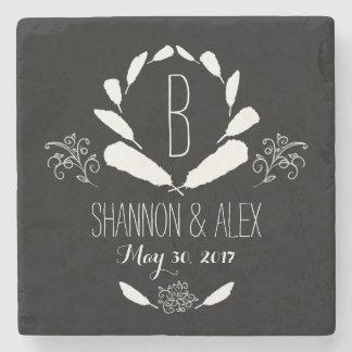 Feather Chalkboard Monogram Wedding Date Stone Coaster
