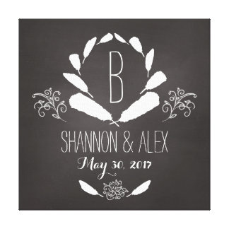 Feather Chalkboard Monogram Wedding Date Stretched Canvas Print