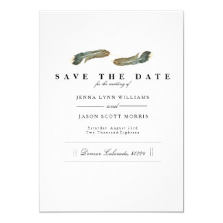 Feather Duo Watercolor | Elegant Save The Date Card