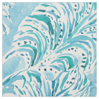 FEATHER FLOW Aqua Watercolor Fabric