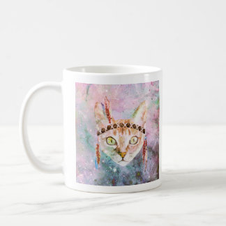 Feather Head Band Cat Painted Coffee Mug