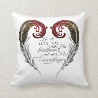 Feather Heart Scripture Pillow