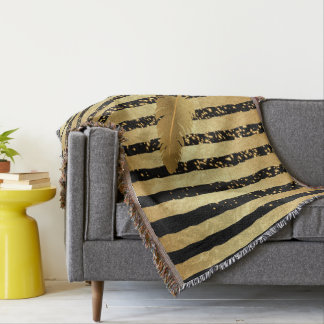 Feather in black and Metallic Gold Throw Blanket