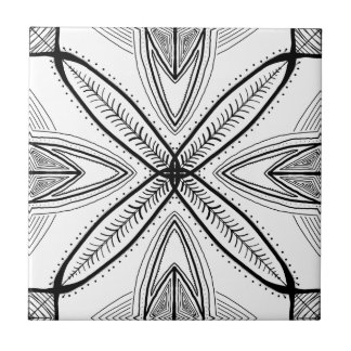 Feather Mandala Design with Transparent Background Ceramic Tile