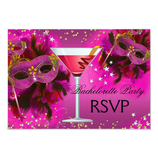 Feather Mask Masquerade Bachelorette RSVP Card