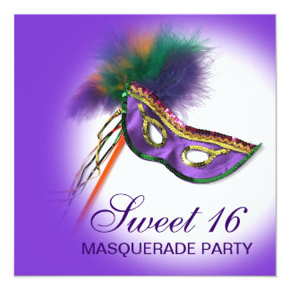Feather Mask Purple Sweet 16 Masquerade Party 13 Cm X 13 Cm Square Invitation Card