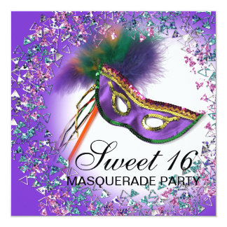 Feather Mask Purple Sweet 16 Masquerade Party 5.25x5.25 Square Paper Invitation Card