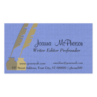 Feather Pen - Blue and Gold Business Card