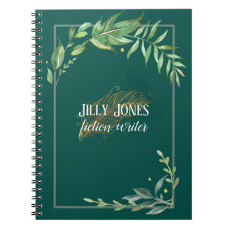 Feather Pen & Leafy Frame in Spruce Green Spiral Notebook