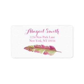 Feather, pink and green - Address labels