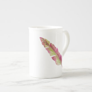 Feather, pink and green - Bone China Mug