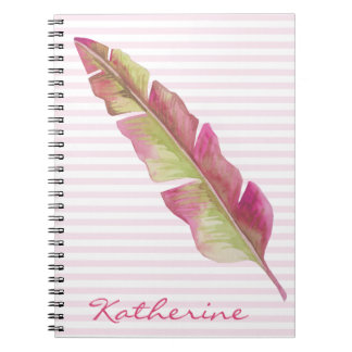 Feather, pink and green - Personalized Notebook