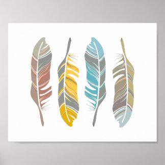 Feather Quartet Art Print Wall Decor