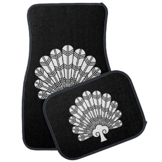Feather round fan of 鷹 car mat